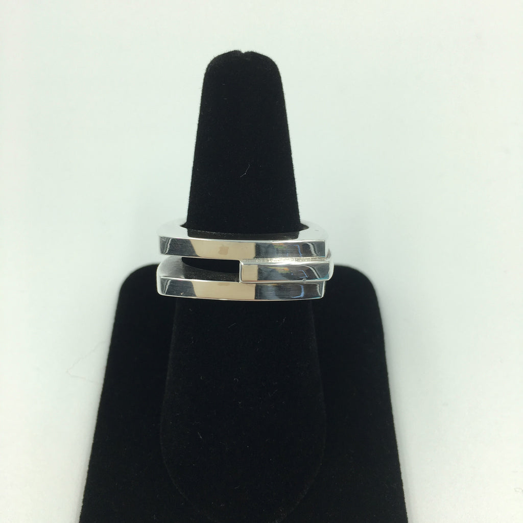 Tom Ford for Gucci Modern Three Stripe Sterling Silver Ring