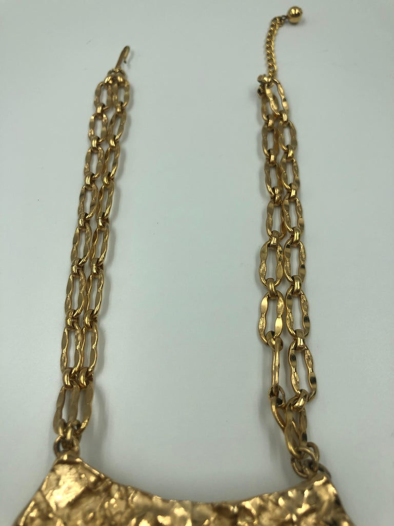 Napier Gilded Gold Abstract Gold Necklace with Double Chain