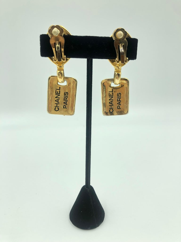 1980's Chanel Paris Stamped Gold Tone Drop Earrings