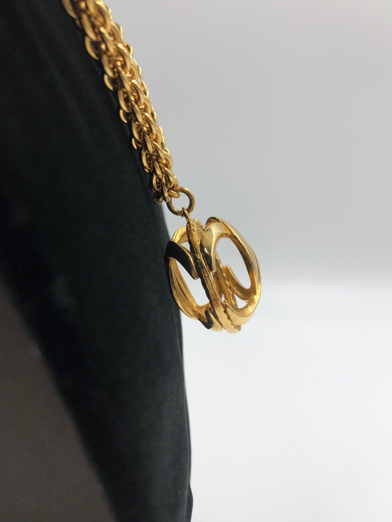 Chanel 1980's Gold Tone Necklace with 3D Orb Monogram Double C Pendant