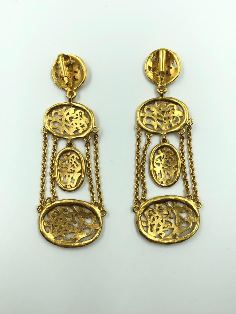 1980's Chanel Gold Tone Floral Filigree Chandelier Clip Earring