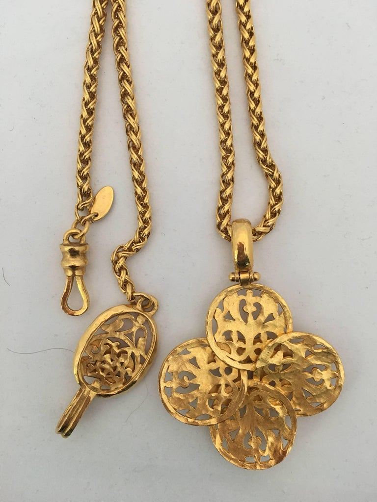Chanel Filigree 1980's Gold Tone Cross Necklace