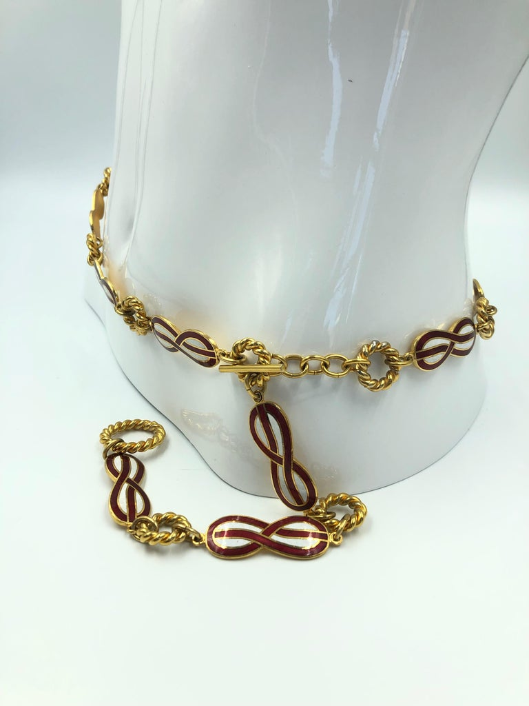 Gucci 1970's Infinity Symbol Red & White Enamel and Gold Tone Chain Belt