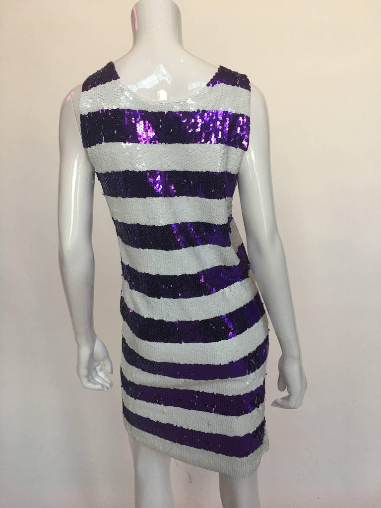 Gene Ewing 1980's Sequin Striped Shift Dress