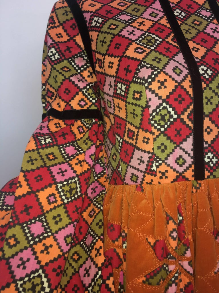 Geoffrey Beene 1960's Orange Multi-Color Dress With Quilted Skirt