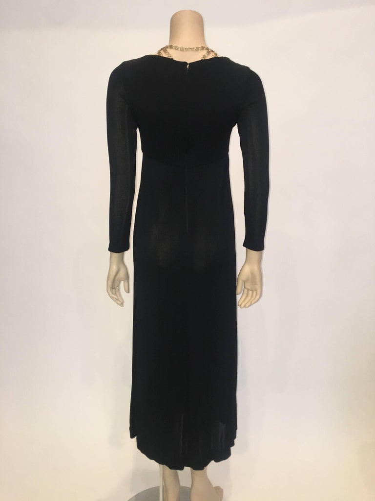Jay Kobrin 1960's Black Matte Jersey Long Dress with Gold Chain Neckline