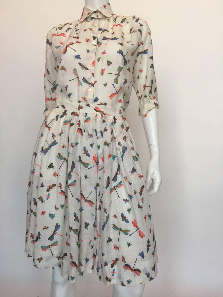 Gucci Linen 1980's 2 Piece Dragonfly Print Skirt Set