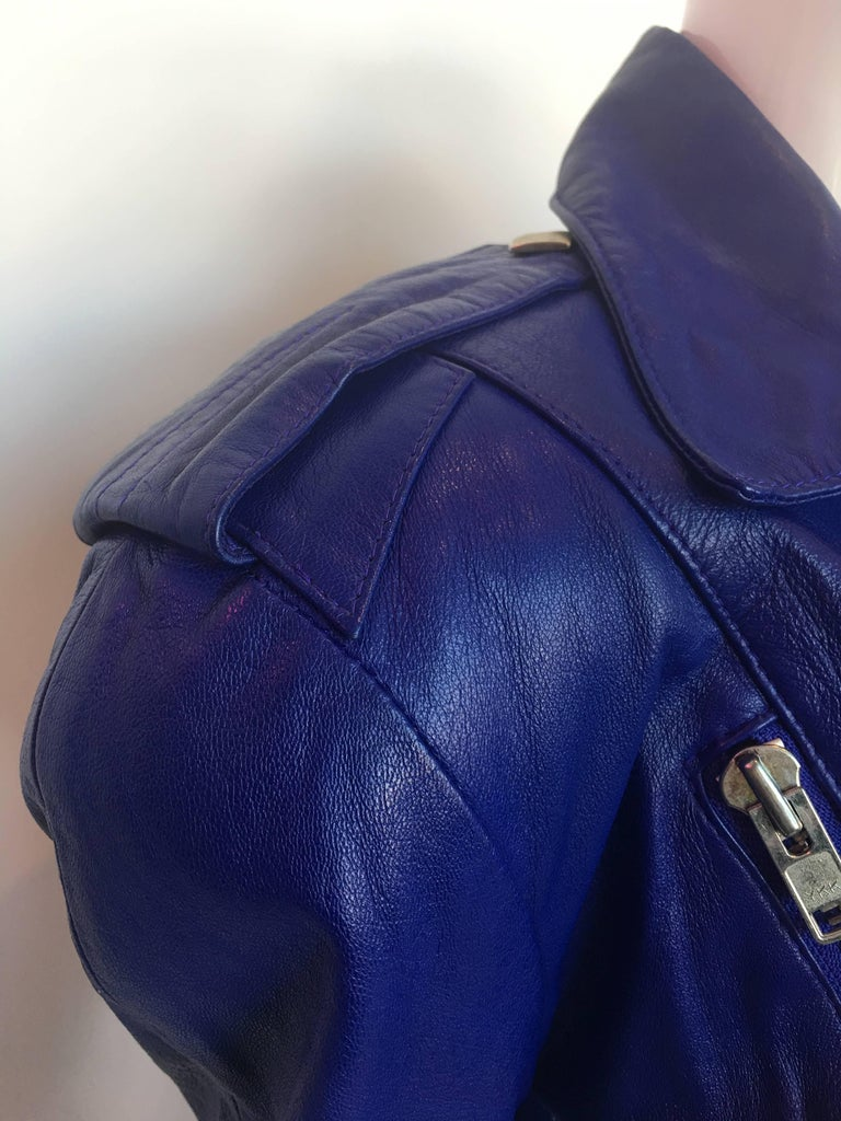 Michael Hoban 1980's North Beach Leather Purple / Blue Moto Dress with Zippers