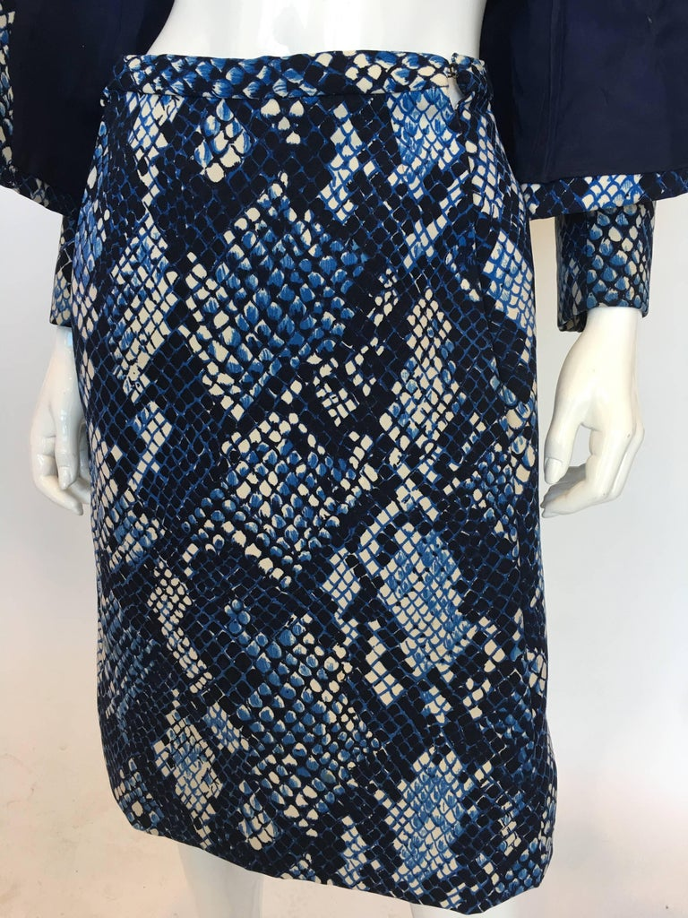 Unique 1960's Blue Snakeskin Print 2 Piece Suit