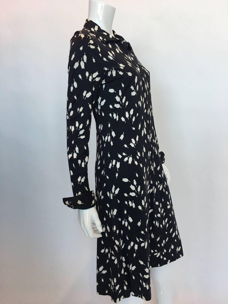 Diane Von Furstenberg 1970's Black and White Tulip Dress