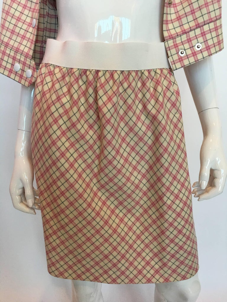 Pierre Cardin 1980's Pink and White Plaid Wool Cap Sleeve Skirt Suit