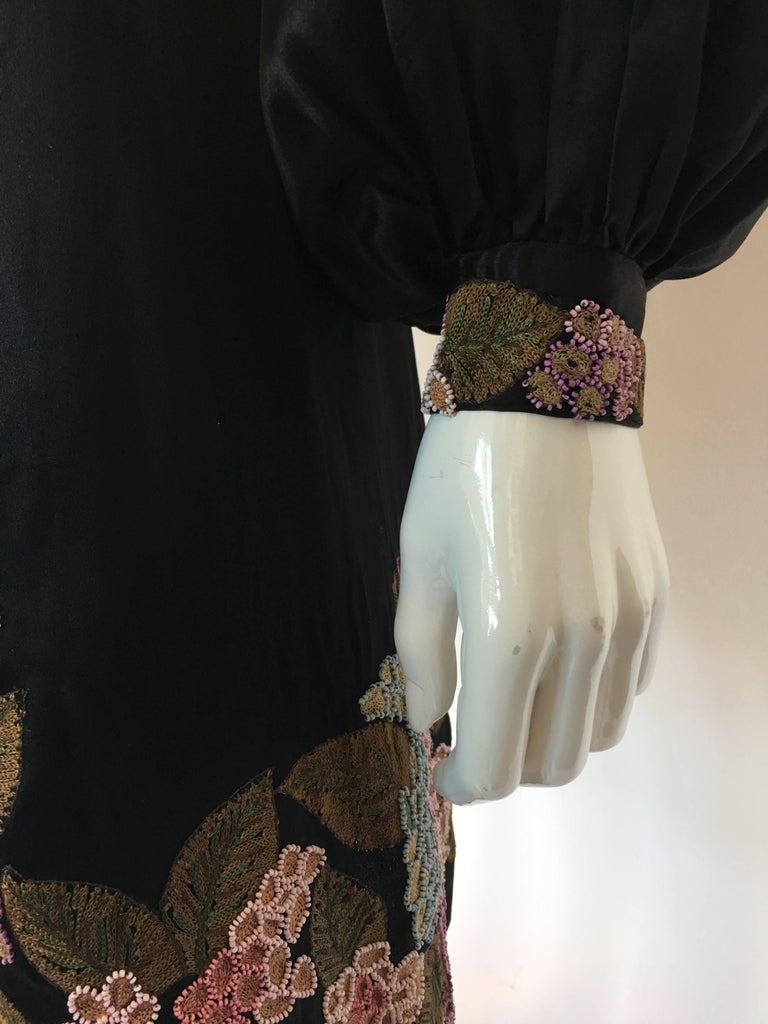 1920's Handmade Black Silk Embroidered and Beaded Floral Trim Dress