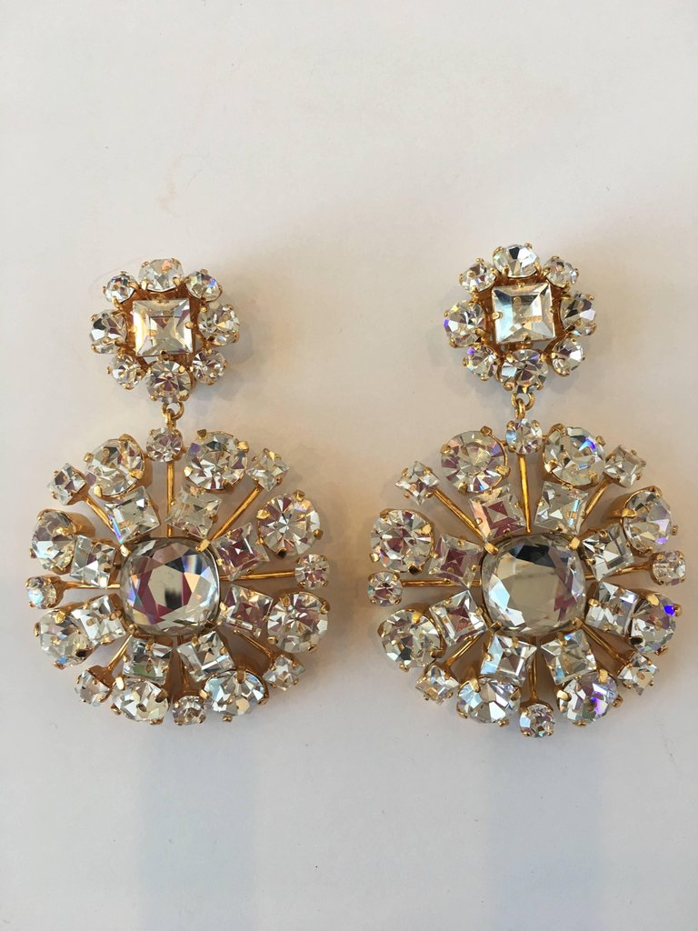 Yves Saint Laurent Crystal and Gold Tone Drop Chandelier Clip Earrings