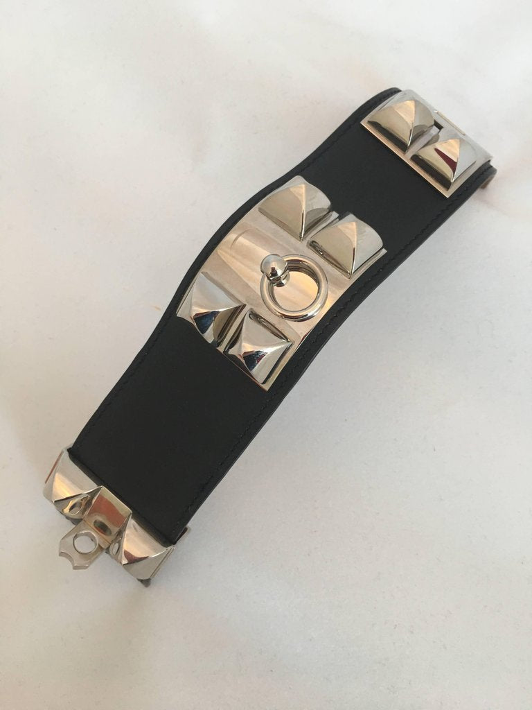 Hermès Cuir Collier de Chien Black & Silver Leather Cuff Bracelet