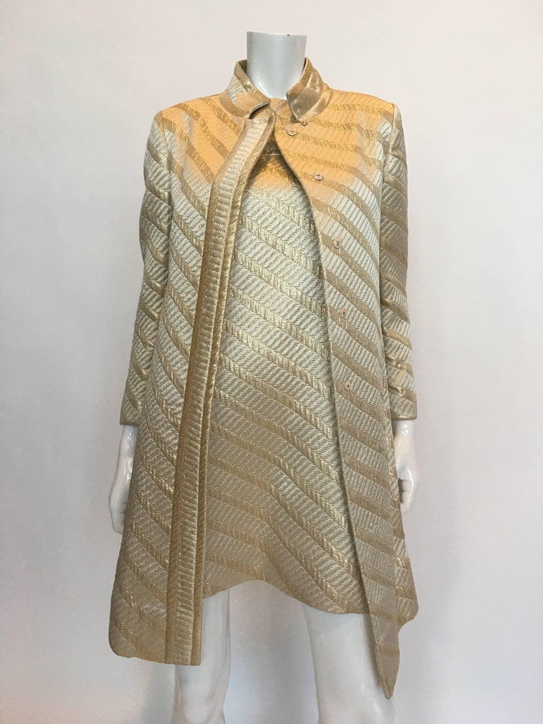 Mod Jackie O Style 1960's Gold Matching Coat and Dress 2 Piece Ensemble