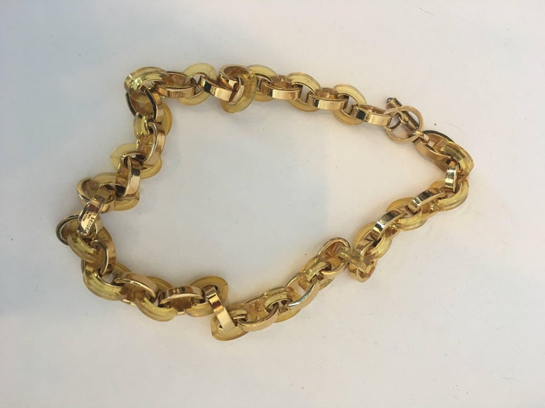 Henri Bendel 1980's Lucite and Gold Tone Link Necklace
