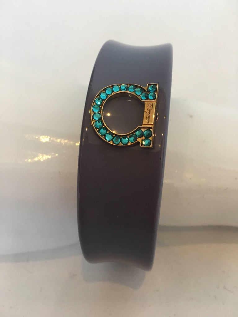 Ferragamo 1980's Gray Bangle w/ Rhinestone Emblem