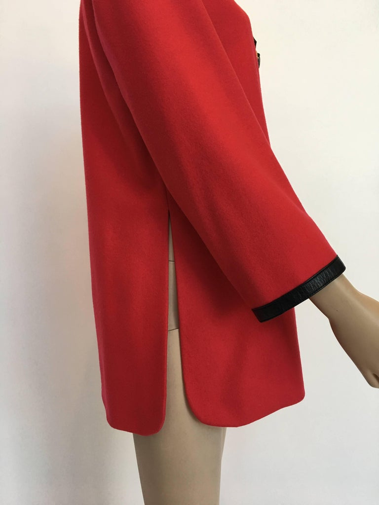 Hermès 1970's Crimson Red Tunic Top with Black Leather Strapping