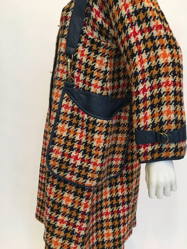 Bonnie Cashin 1960's Wool Plaid A Line Coat with Navy Blue Leather Trim
