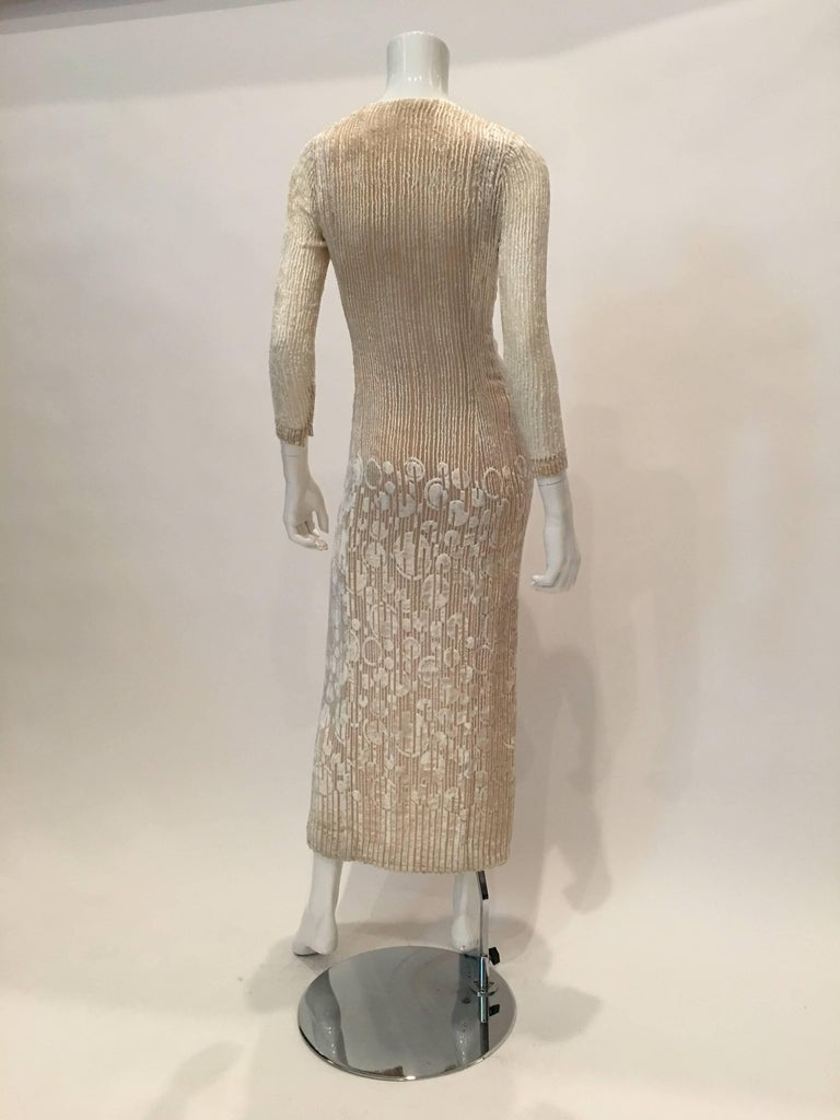 Pauline Trigere 1970's Ivory Velvet Long Dress