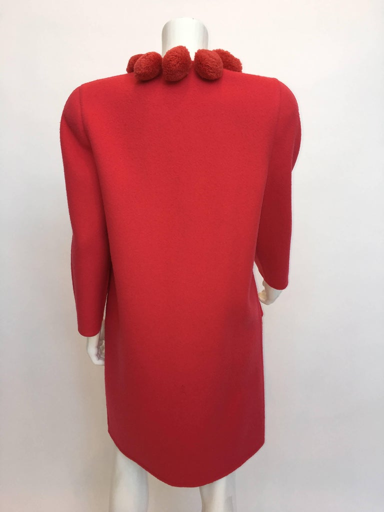 Bill Blass 1980's Pink Coral Pom Pom Wool Coat