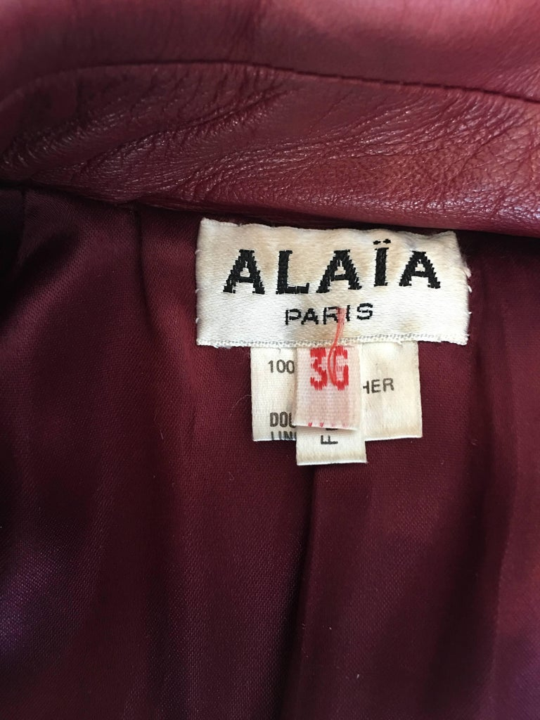 Alaïa 1980's Red Leather Skirt Suit