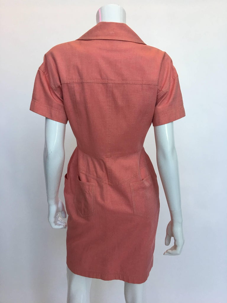 Bill Blass 1990's Salmon Pink Button Up Uniform Suit Dress