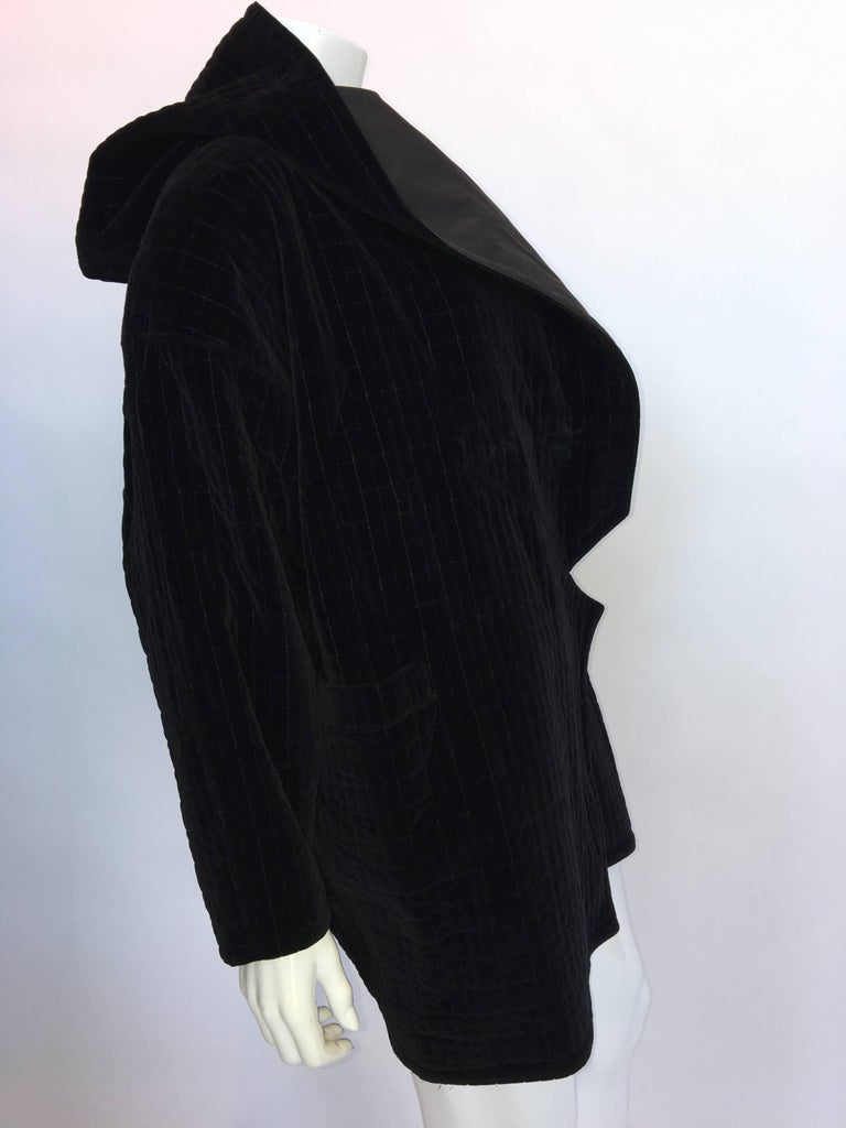 Versace 1980's Black Quilted Velvet Oversized Hooded Jacket