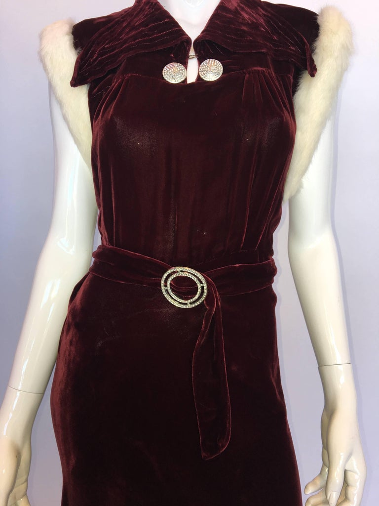 Vintage 1930's Burgundy Velvet Dress with Rabbit Fur Trimmed Sleeves