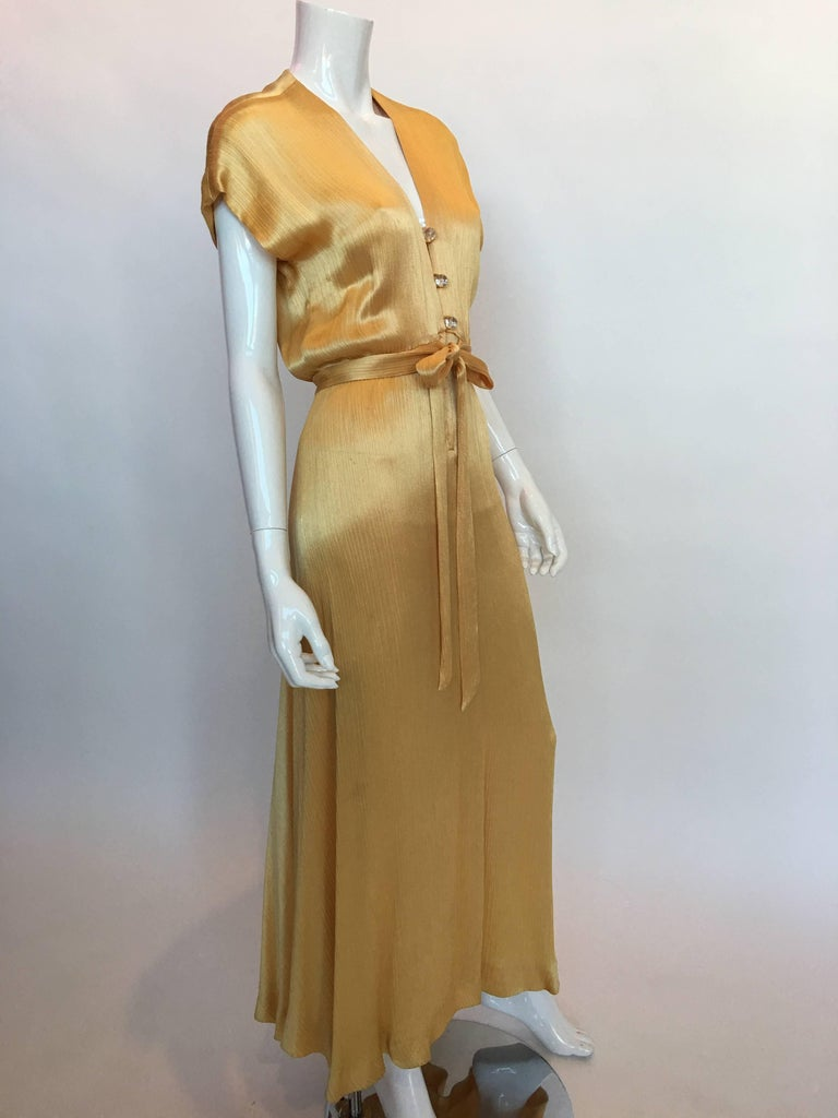 Hollys Harp 1970's Gold Silk Evening Gown