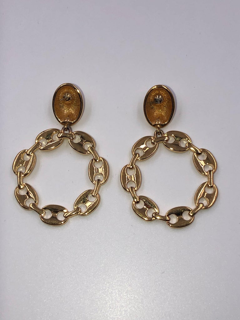 Monet Gucci Style Link Round Pierced Earrings