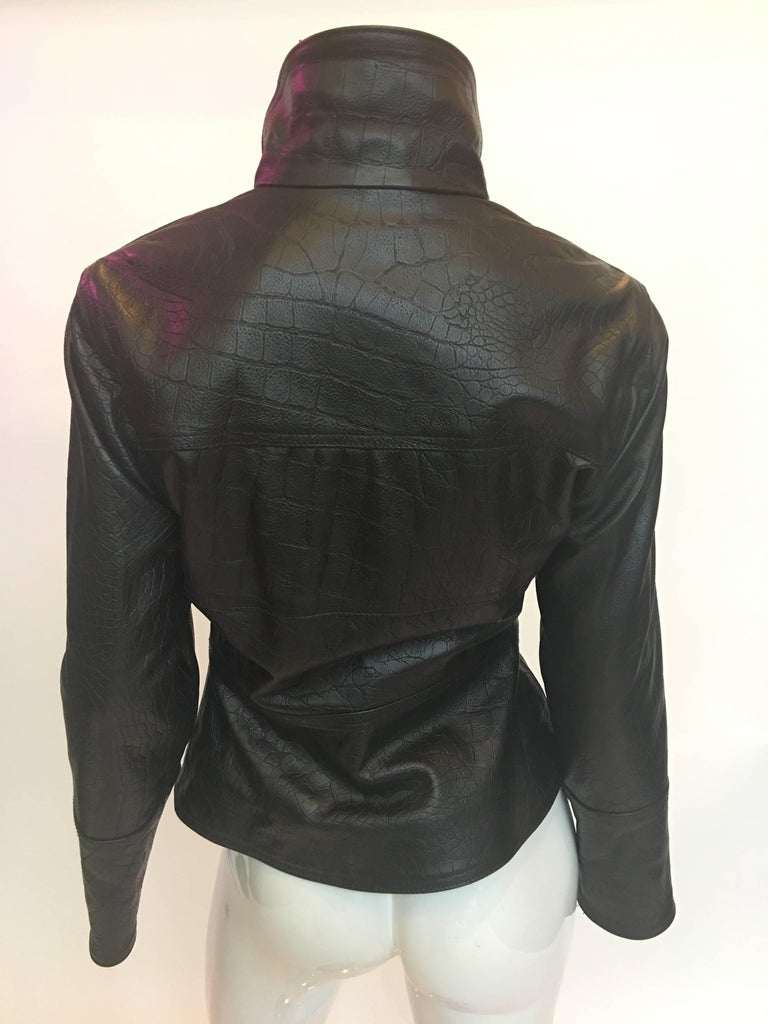Versace 1990's Lizard Embossed Leather Jacket