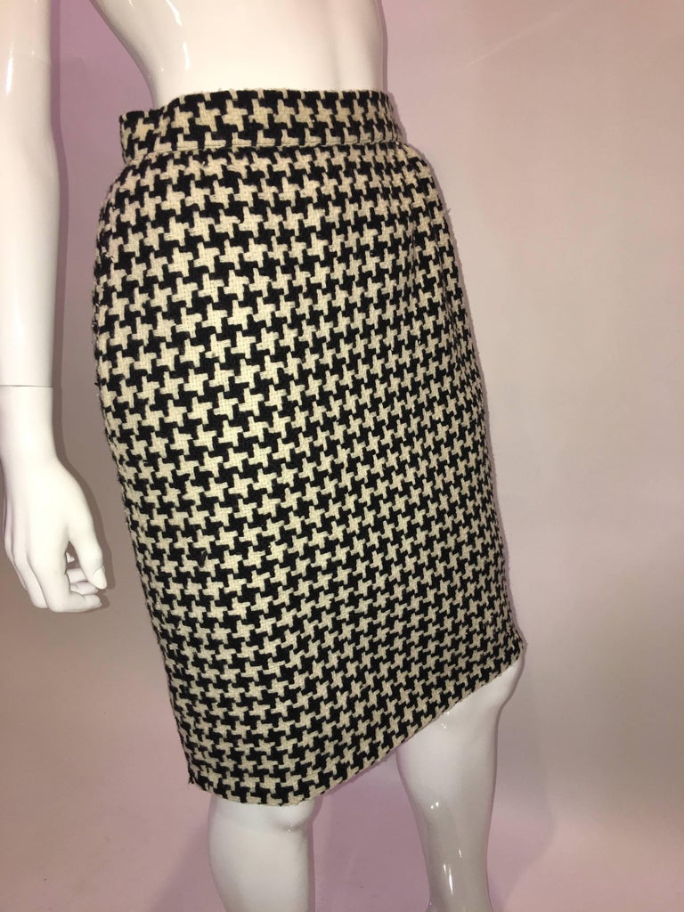 Ungaro 1980's Black and White Houndstooth Wool Skirt