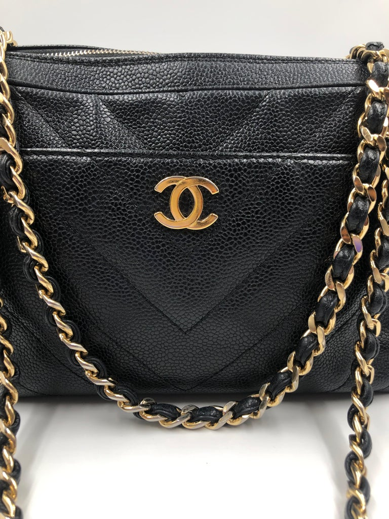 Chanel Black Quilted Chevron Caviar Leather Zip Chain Shoulder Bag