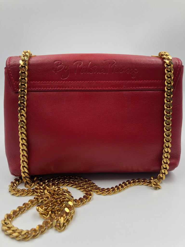 Paloma Picasso Red Leather Gold Chain Crossbody Disco Bag