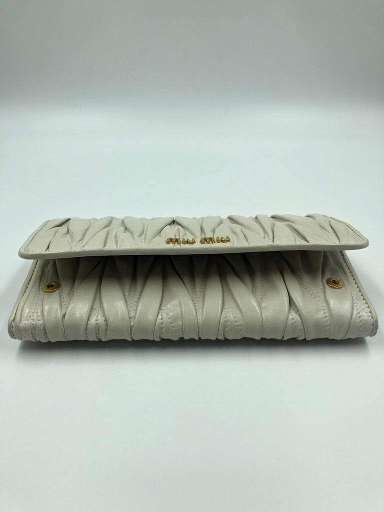 Miu Miu Ivory Matelassé Leather Wallet