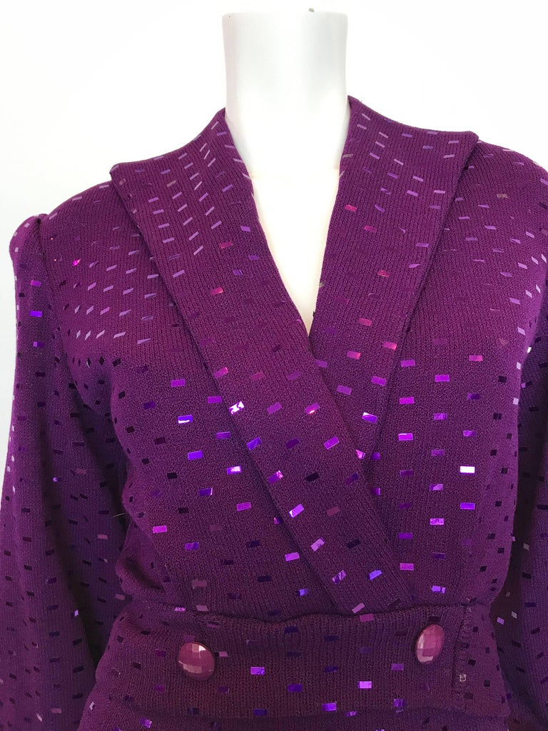 St. John 1980's Purple Knit Sequin 2 Pc Skirt Set