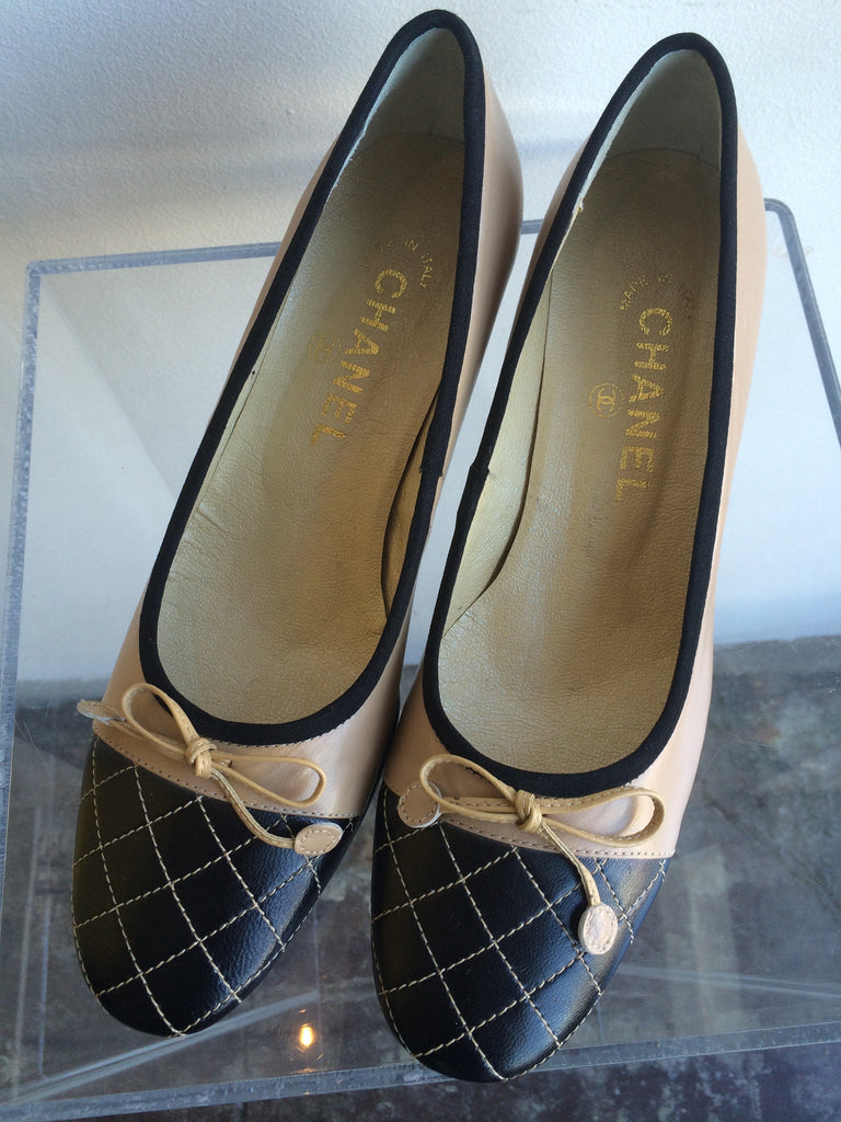 Chanel Nude and Black Quilted Chunk Heel