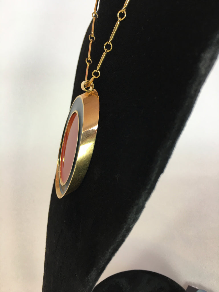 Guy Laroche Gold Tone Necklace with Red + Navy Enamel Plated Oval Pendant