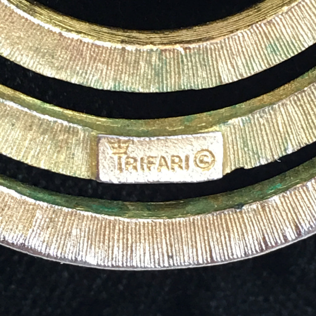 Trifari Circular Design Gold Tone Necklace with Round Snake Chain