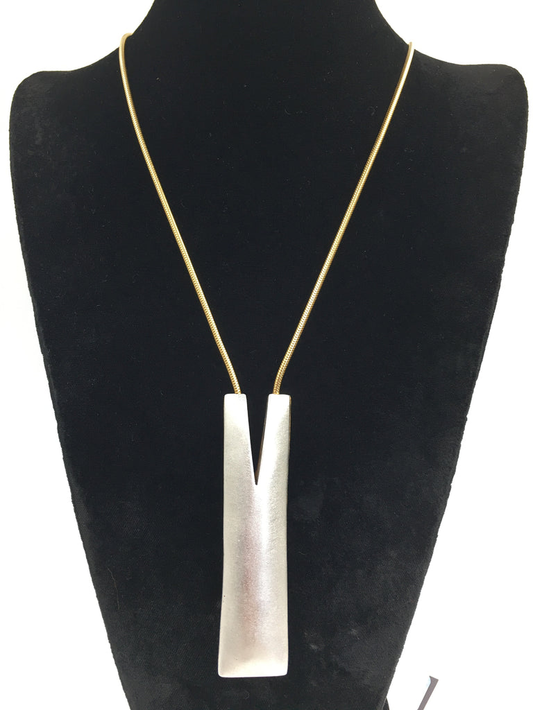 Vintage Reversible Matte Gold/Silver Necklace