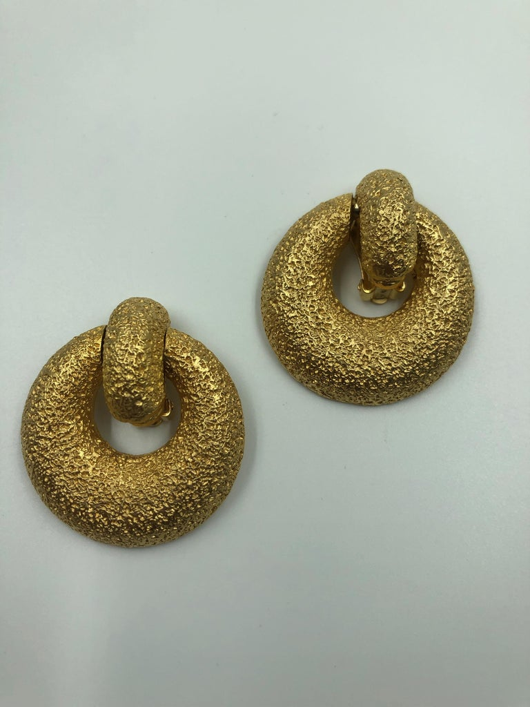 Kenneth Lane Clip On Dangle Earrings with Gold Tone Blast Finish