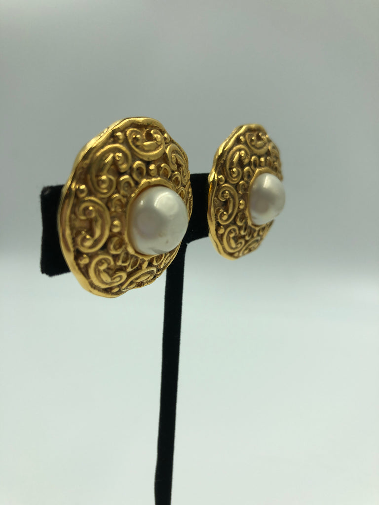 Chanel Gold Tone and Faux Pearl Clip On Earrings