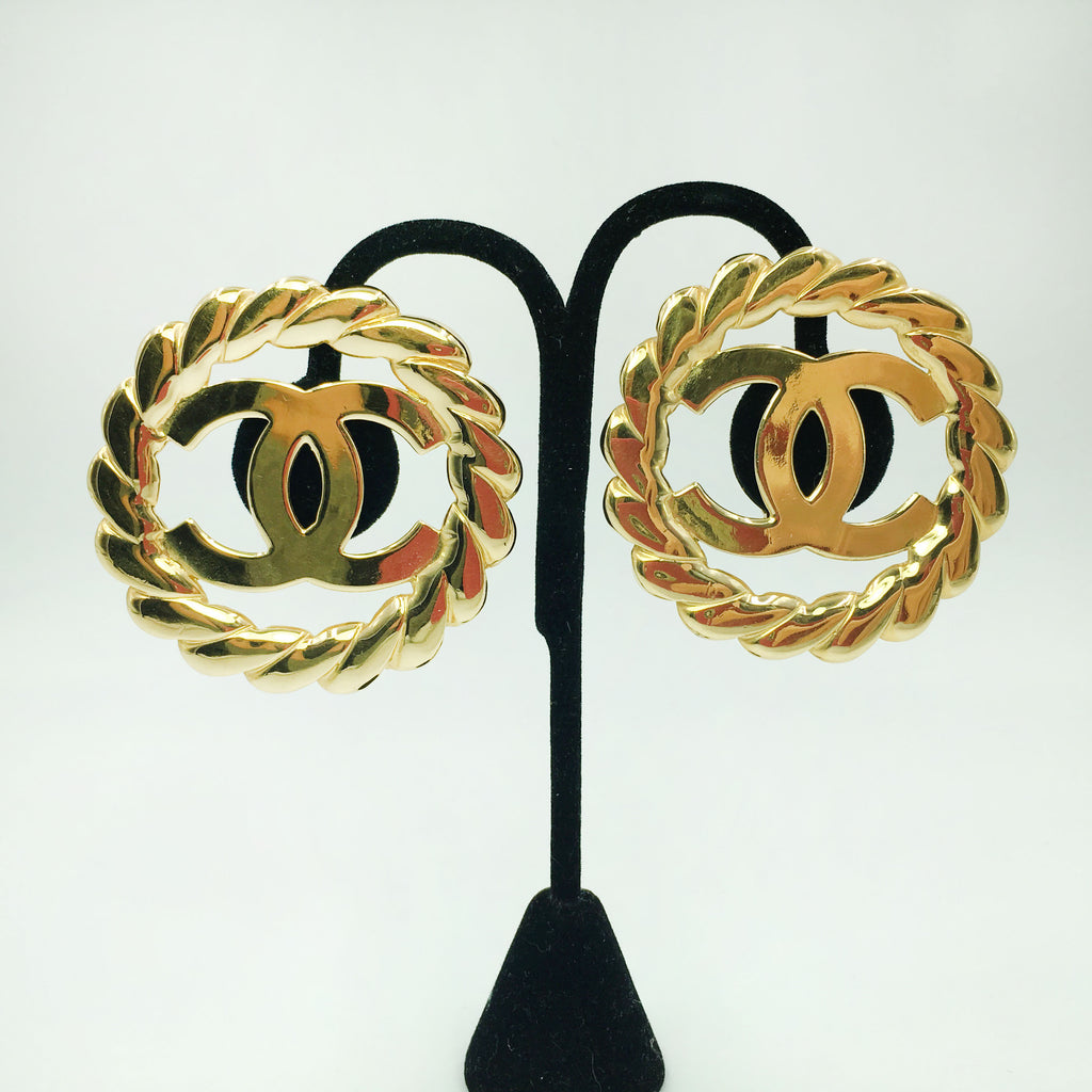 Chanel Gold Tone CC Logo/Chain Statement Clip On Earrings