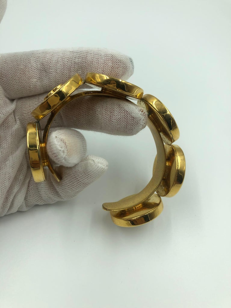 Chanel 1980's Mother of Pearl & Gold Tone Cuff Bracelet