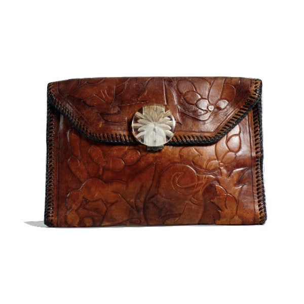 Leather Hand Tooled Clutch