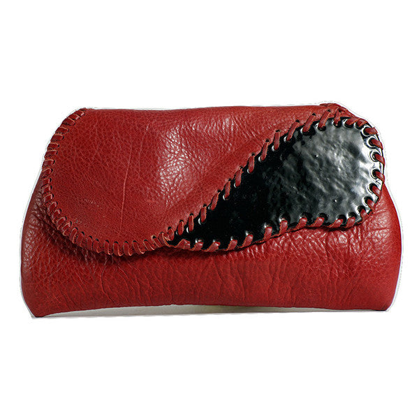 Red Leather Enamel Clutch