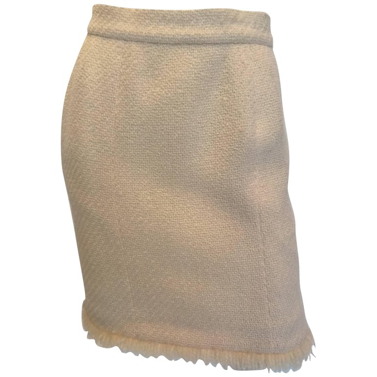 1980's Chanel Cream Colored Wool Tweed Skirt