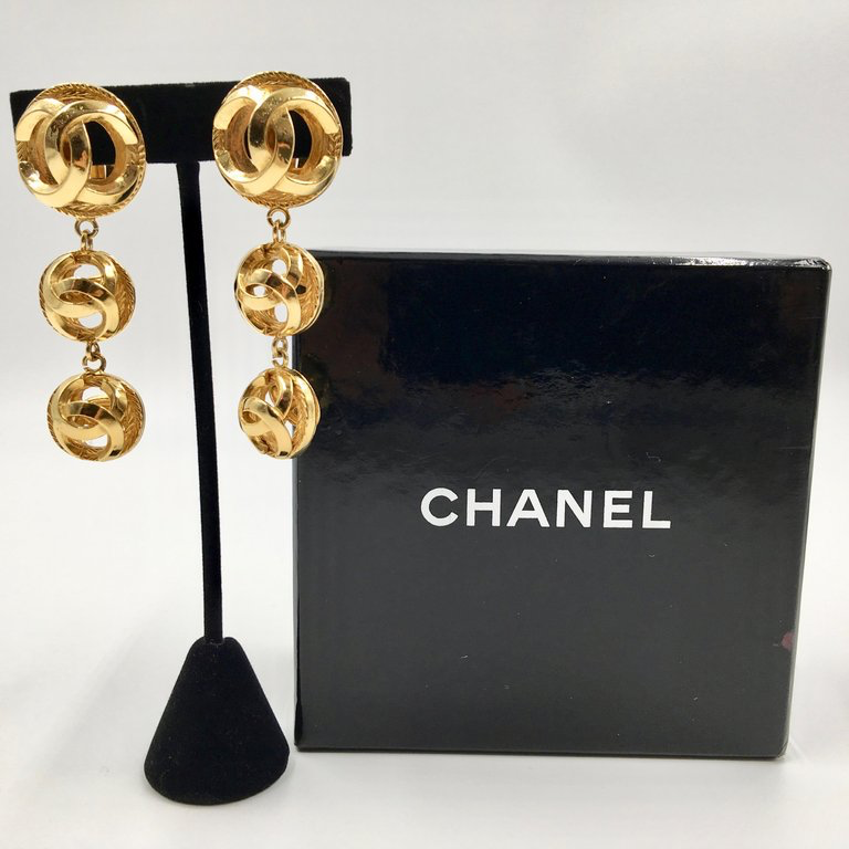 Chanel Gold Tone CC Logo Drop Clip On Earrings