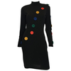 Andrea Jovine 1980's Black Fitted Wool Knit Dress